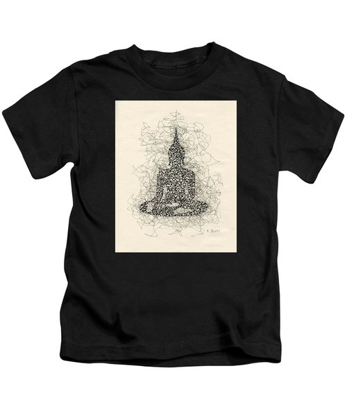 Buddha Pen And Ink Drawing Kids T-Shirt