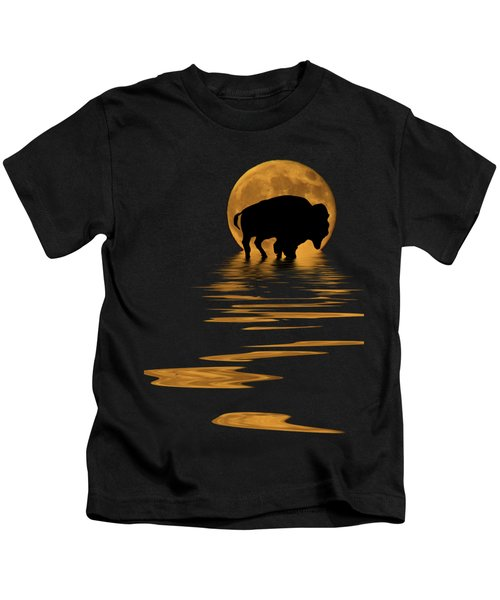 Buffalo In The Moonlight Kids T-Shirt by Shane Bechler