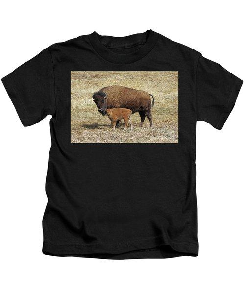 Buffalo With Newborn Calf Kids T-Shirt