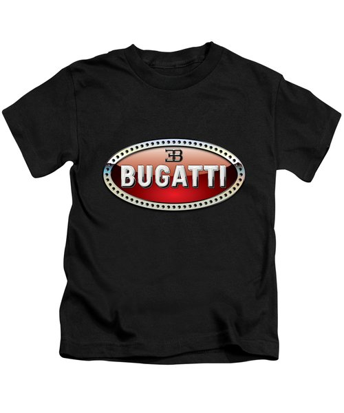Bugatti - 3 D Badge On Black Kids T-Shirt