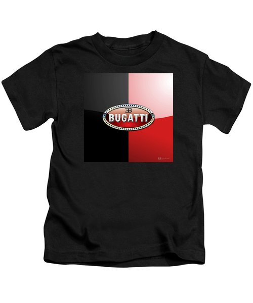 Bugatti 3 D Badge On Red And Black  Kids T-Shirt