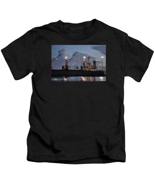 Bulk Cargo Carrier Loading At Dusk Kids T-Shirt