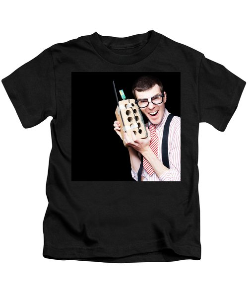 Business Geek Laughing On House Brick Phone Kids T-Shirt