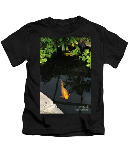 Butterfly Koi In Pond Kids T-Shirt