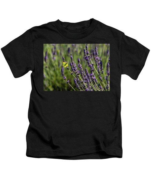 Butterfly N Lavender Kids T-Shirt