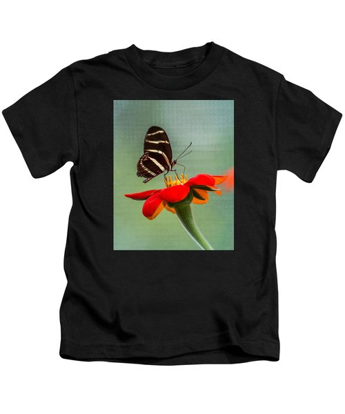 Butterfly Zebra Longwing On Zinnia Kids T-Shirt