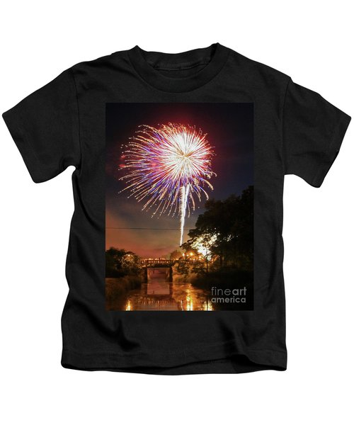 Canal View Of Fire Works Kids T-Shirt