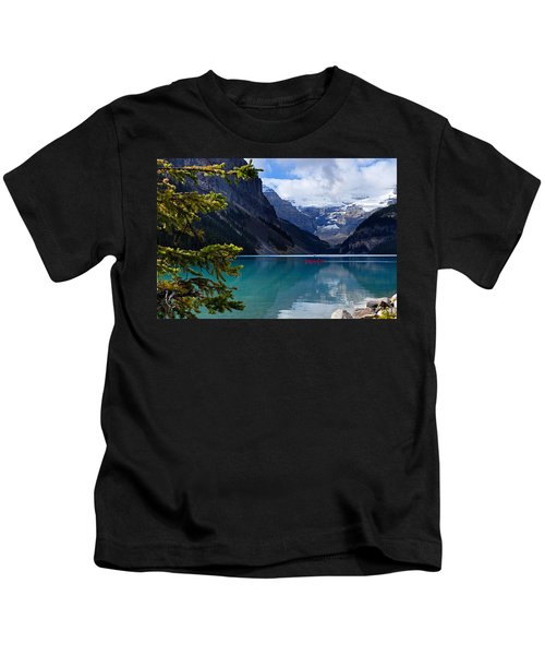Canoe On Lake Louise Kids T-Shirt