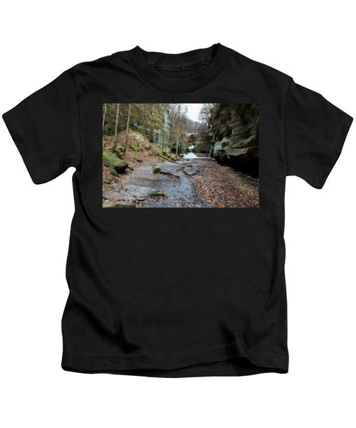 Canyon Path In Winter Kids T-Shirt