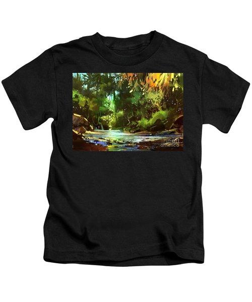 Cascades In Forest Kids T-Shirt