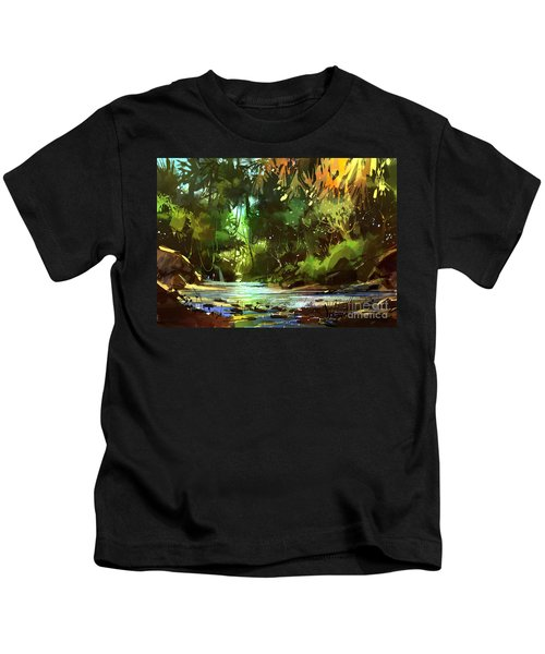 Kids T-Shirt featuring the painting Cascades In Forest by Tithi Luadthong