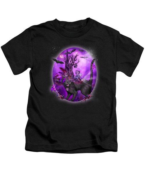 Cat In Goth Witch Hat Kids T-Shirt