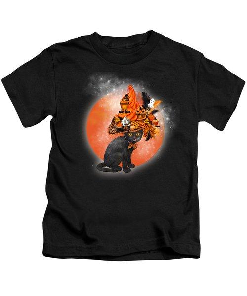 Cat In Halloween Cupcake Hat Kids T-Shirt