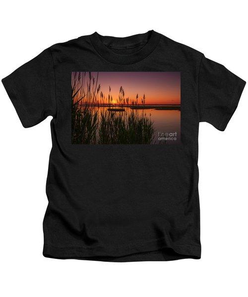 Cedar Beach Sunset In The Reeds Kids T-Shirt