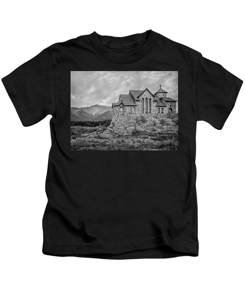 Chapel On The Rock - Black And White Kids T-Shirt