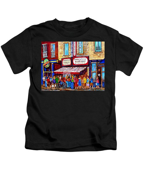 Charcuterie Hebraique Schwartz Line Up Waiting For Smoked Meat Montreal Paintings Carole Spandau     Kids T-Shirt