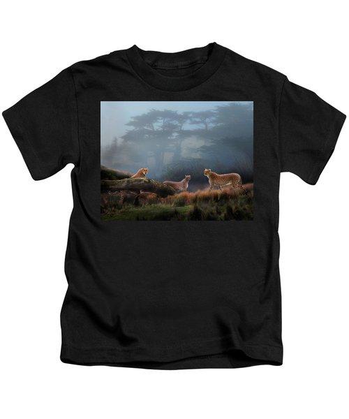 Cheetahs In The Mist Kids T-Shirt