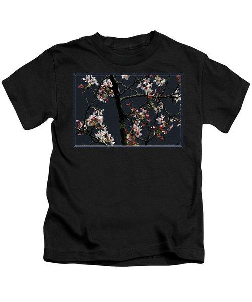Cherry Blossoms On Dark Bkgrd Kids T-Shirt