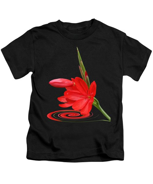 Chic - Ritzy Red Lily Kids T-Shirt by Gill Billington