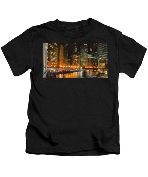 Chicago At Night Kids T-Shirt