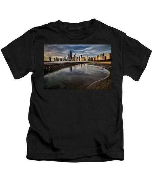 Chicago Beach And Skyline With A Person For Scale Kids T-Shirt