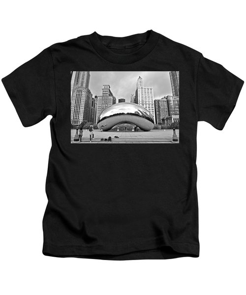 Chicago Bean In Black And White Kids T-Shirt