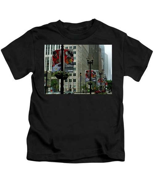 Chicago Blackhawk Flags Kids T-Shirt