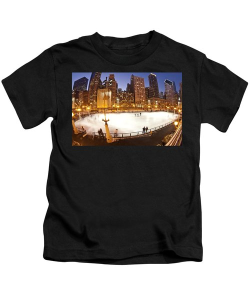 Chicago Ice Rink And Skyline At Dusk Kids T-Shirt