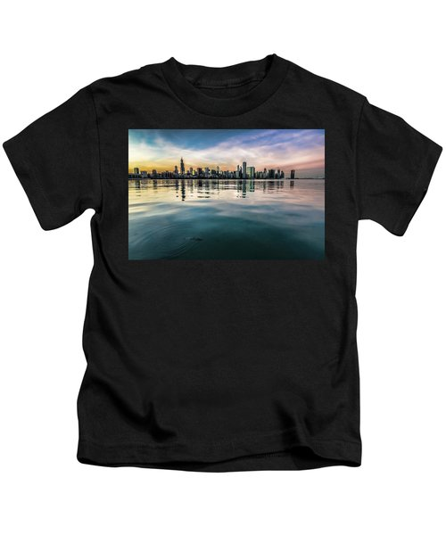 Chicago Skyline And Fish At Dusk Kids T-Shirt