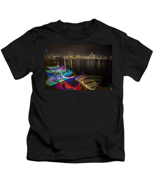 Chicago Skyline With Pixel Stick Painting Kids T-Shirt