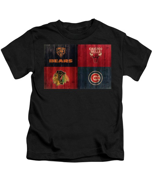Chicago Sports Teams Rustic Wood Kids T-Shirt
