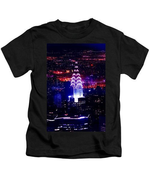 Chrysler Building At Night Kids T-Shirt by Az Jackson