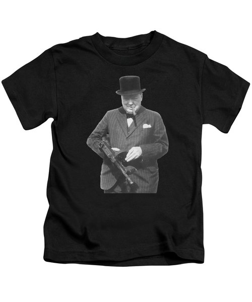 Churchill Posing With A Tommy Gun Kids T-Shirt