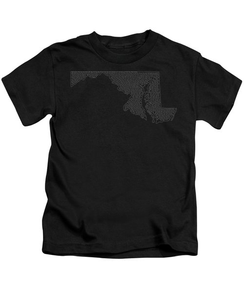 Cities And Towns In Maryland White Kids T-Shirt by Custom Home Fashions