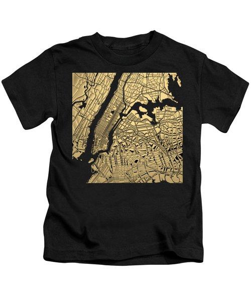 Cities Of Gold - Golden City Map New York On Black Kids T-Shirt