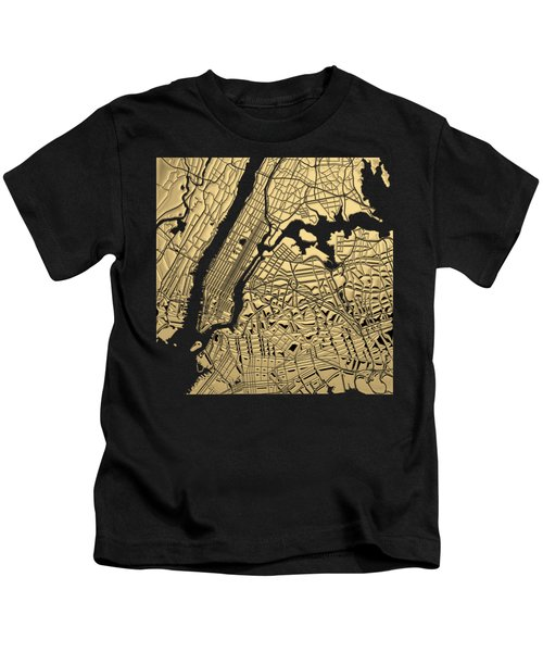 Cities Of Gold - Golden City Map New York On Black Kids T-Shirt