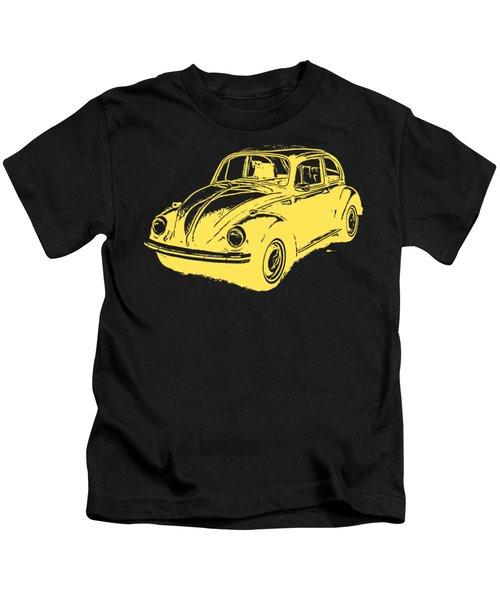 Classic Vw Beetle Tee Yellow Ink Kids T-Shirt by Edward Fielding