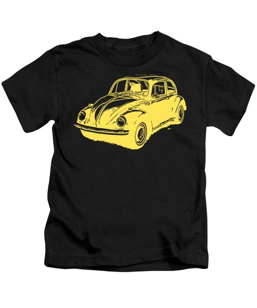 Classic Vw Beetle Tee Yellow Ink Kids T-Shirt