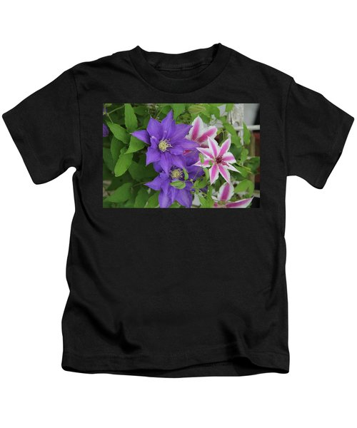 Clematis Purple And Pink White Kids T-Shirt