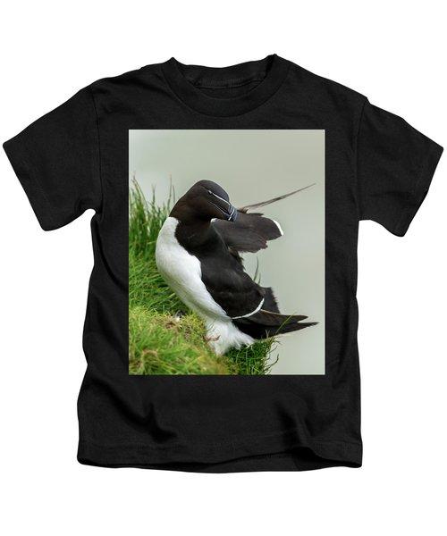 Cliff Edge 2 Kids T-Shirt by Nigel Wooding