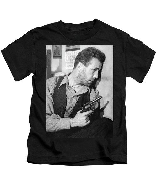 Close-up Up Of Humphrey Bogart As Duke Mantee With Gun The Petrified Forest 1936 Kids T-Shirt