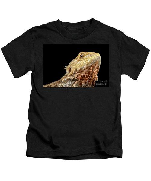Closeup Head Of Bearded Dragon Llizard, Agama, Isolated Black Background Kids T-Shirt