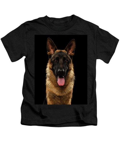 Closeup Portrait Of German Shepherd On Black  Kids T-Shirt