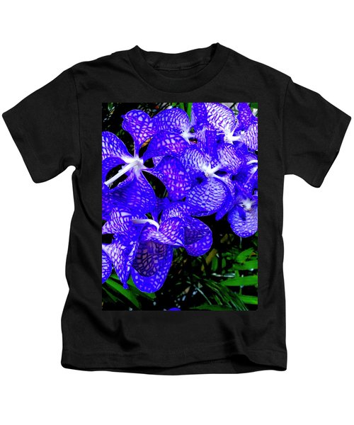 Cluster Of Electric Blue Vanda Orchids Kids T-Shirt