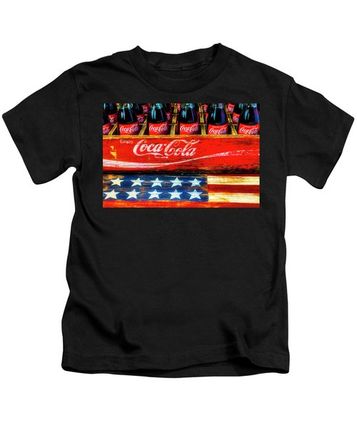 Coca Cola And Wooden American Flag Kids T-Shirt