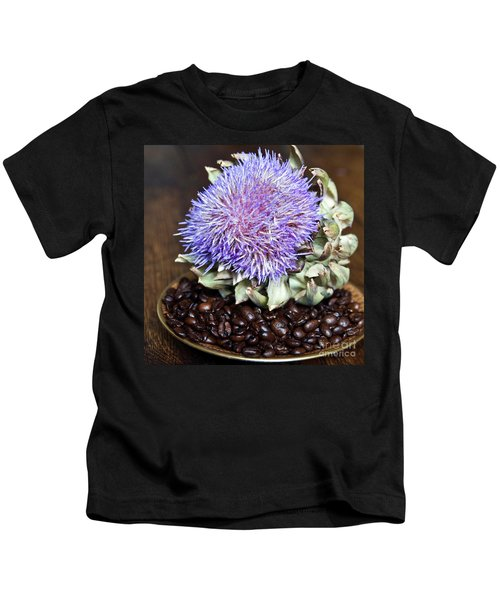 Coffee Beans And Blue Artichoke Kids T-Shirt