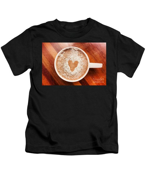 Coffee Love. White Coffee Cup On Wooden Background Kids T-Shirt