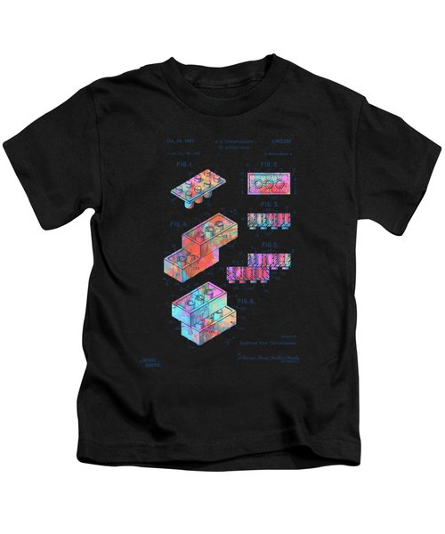 Colorful 1961 Toy Building Brick Patent Art Kids T-Shirt