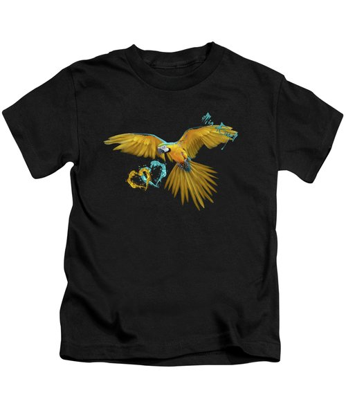 Colorful Blue And Yellow Macaw Kids T-Shirt by Maria Astedt