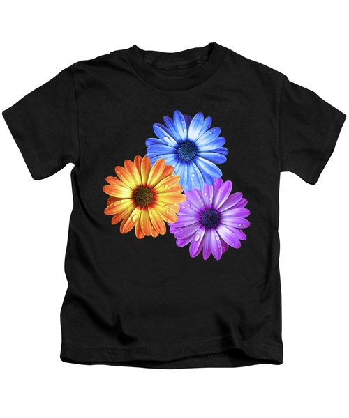 Colorful Daisies With Water Drops On Black Kids T-Shirt